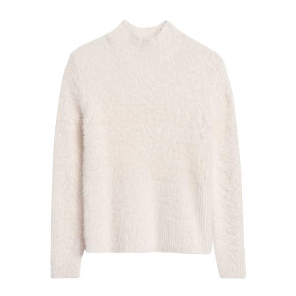 Banana Republic Women's Cropped Fuzzy Sweater Ivory White Regular Size XL