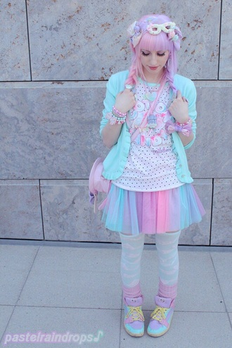 t-shirt kawaii pastel dope style shirt skirt fashion clothes japan blogger cute pink blue fairy kei japanese pastelbat blouse shoes