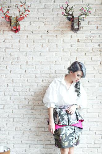 white blouse blouse blogger brown platform print