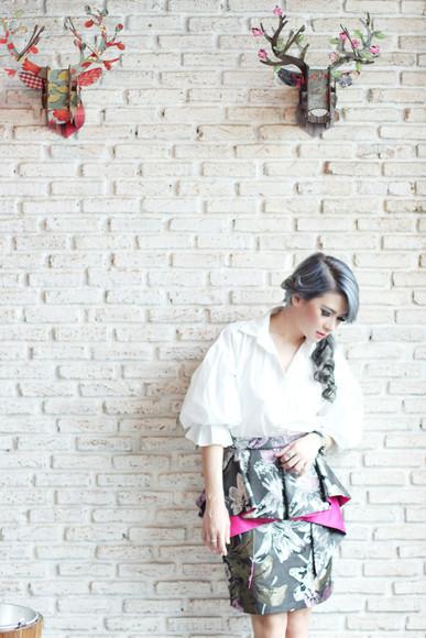 blouse white blouse blogger brown platform print