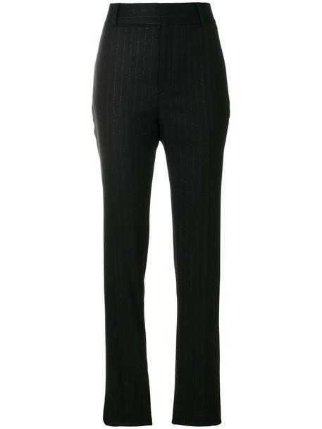Saint Laurent high waisted high women cotton black wool pants