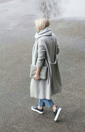 coat,grey long coat,grey,longcoat,fall outfits,fall coat,shoes,sneakers,grey coat