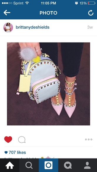 shoes high heels rhinestones glitter heels backpack fashion style