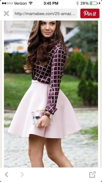 skirt circle skirt pink skirt purple skirt plaid shirt skater skirt