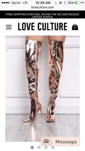 shoes,rose gold,over the knee boots,pointed toe pumps,metallic