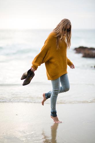 eat sleep wear sweater jeans shoes blouse yellow pullover long strick style mustard oversized sweater knitwear dark orange bofriend jeans jacket mustard knit cute jeans beautiful shoes oversized indie sea beach