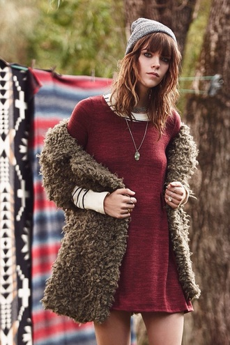 dress fashion urban outfitters clothes tumblr red dress style outfit beanie cardigan velvet urban clothing streetwear tumblr outfit tumblr clothes