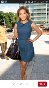 dress,navy dress,adrienne bailon,collared dress,fit and flare dress,short dress