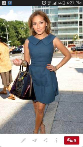 dress navy blue dress adrienne bailon collared dress fit and flare dress short dress