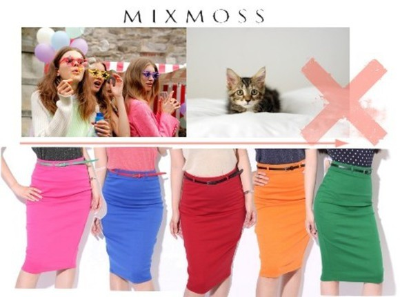 skirt dress waist belt clothes mixmoss.com mixmoss blue skirt orange dress