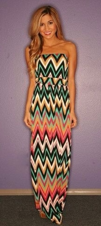 dress maxi chevron mint turquoise coral long dress strapless