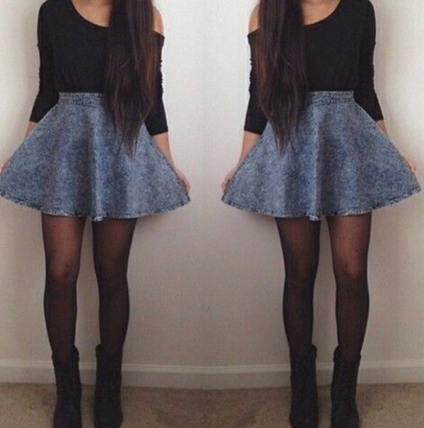 skirt acid wash shirt skater skirt