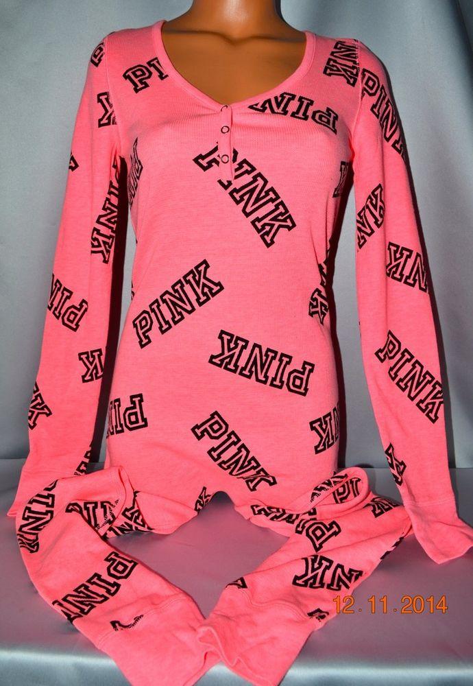 Victorias Secret Pink Logo Thermal Onesie One Piece Pajamas Nwt S