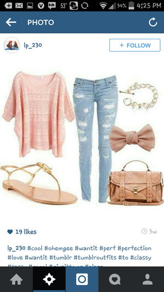 bows jeans bracelets bag pink sweater sandals winter sweater winter outfits