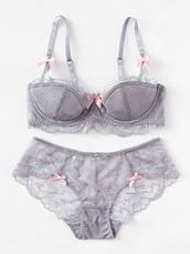 underwear,girly,grey,bra,bralette,lace,lace lingerie,lingerie,two-piece,matching set,lounge wear