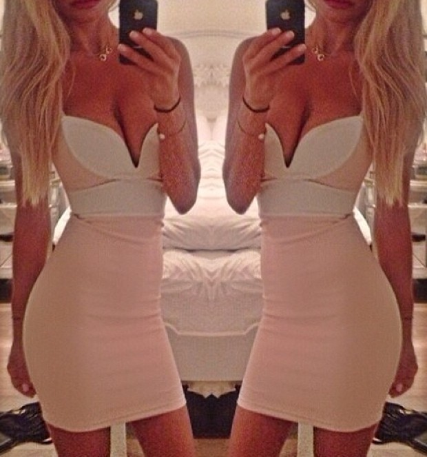 CONTRAST DEEP V SEXY DRESS / melodyclothing