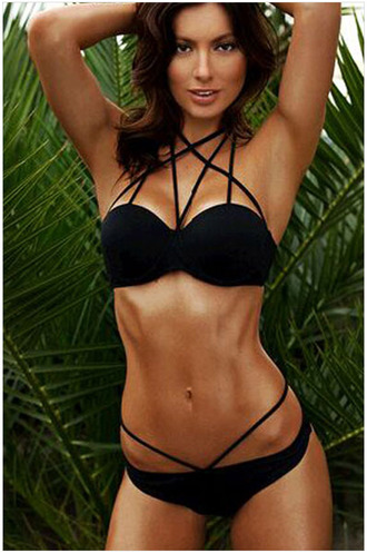 swimwear bikini black rose wholesale strappy sexy