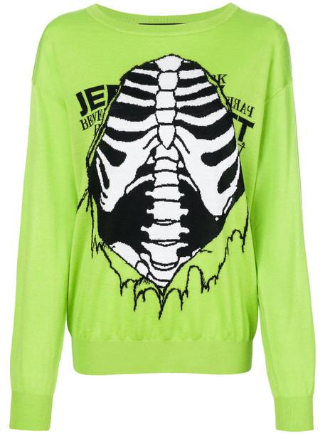 Jeremy Scott - skeleton jumper - women - Virgin Wool - S, Green, Virgin Wool