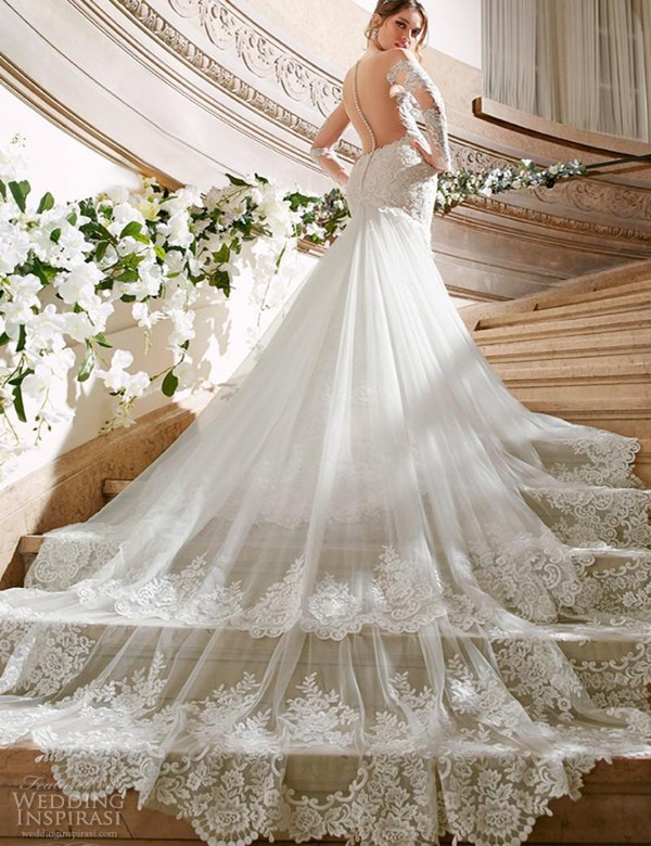 Dress mermaid wedding dress sheer vintage lace wedding for Princess mermaid wedding dresses