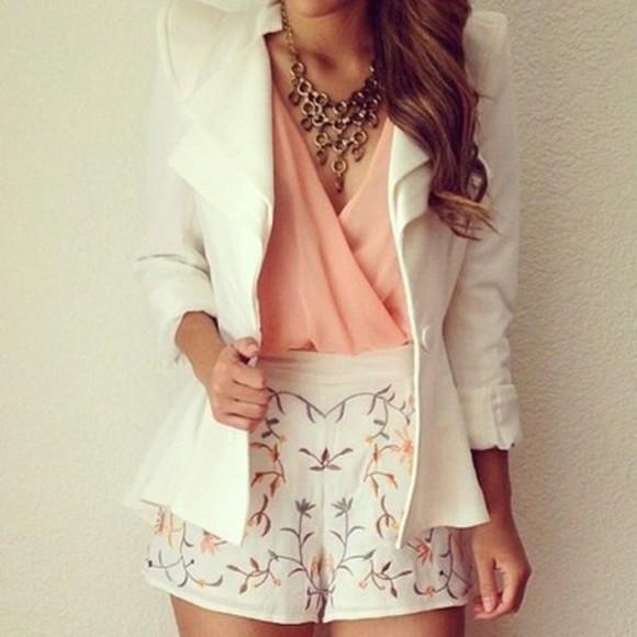 jewels necklace jacket blazer blouse