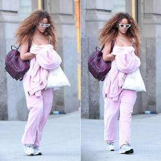 pants pink rihanna sneakers sunglasses cat eye