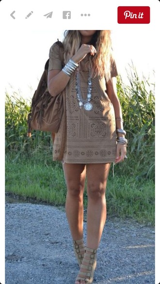 dress brown dress taupe laser cut boho dress
