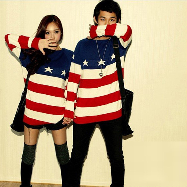 High quality 2014 american flag sweater women men fashion long sleeve pullovers ladies casual star red white stripes sweaters