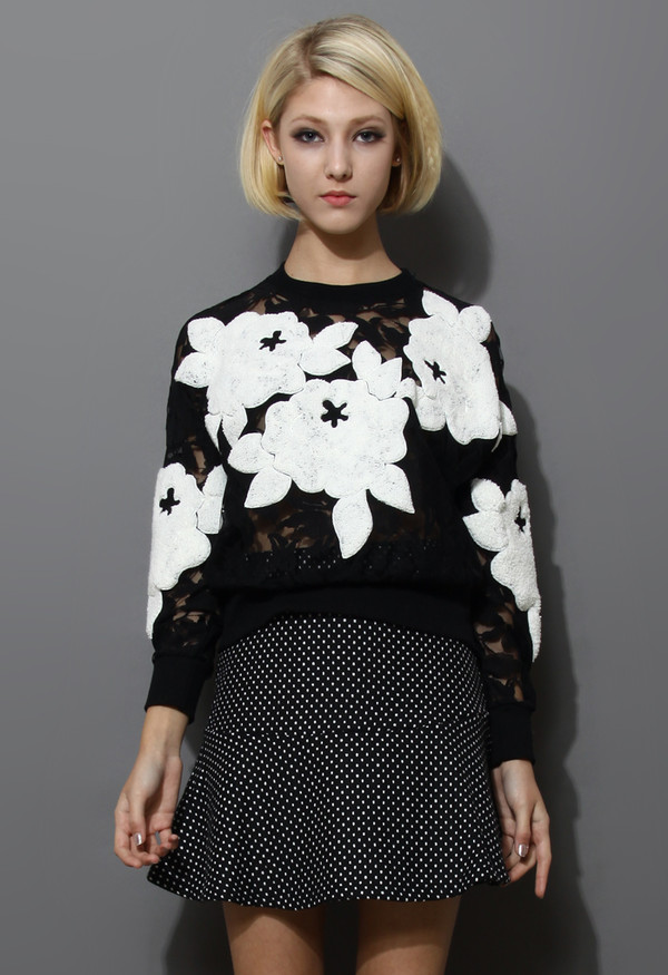 sweater 3d floral mesh