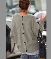 sweater,grey,back-buttoned,cardigan,oversized sweater,oversized cardigan