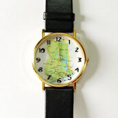 jewels,map watch,watch,boyfriend watch,vintage style,jewelry,accessories,unisex,womens watch,mens watch
