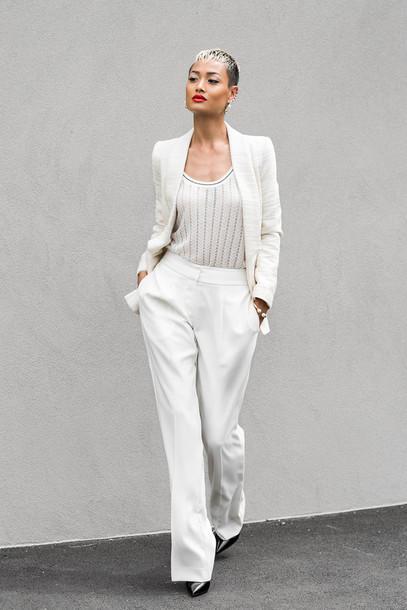 708a30fa389 micah gianneli blogger tailoring white wide-leg pants tank top jacket pants