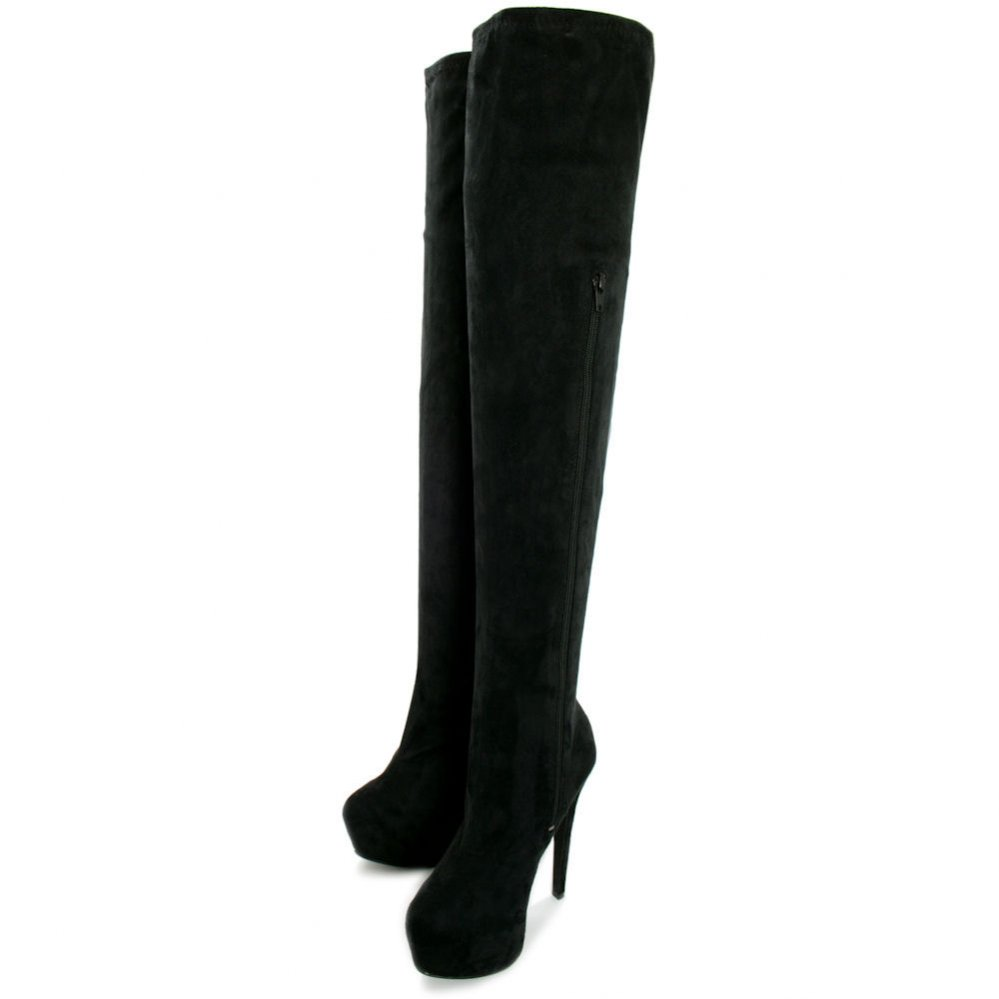Buy Rosa Concealed Platform Thigh High Heel Boots - Black Suede Style