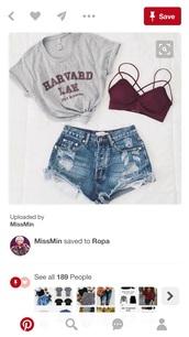 top,harvard,burgundy,grey,outfit,bralette