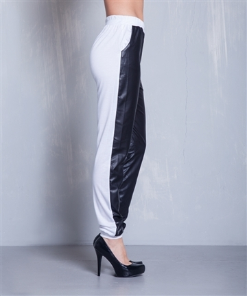Lethalbeauty ? white leather contrast jogger pants