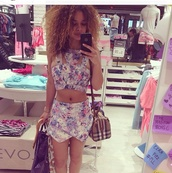 top,crop tops,purple,two-piece,two piece dress set,girly,style,shorts,fashion,flowered shorts,floral shirt,multicolor,print,pretty,pants,shirt,romper