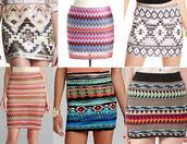 skirt,aztec,aztec skirt,tight skirt,shortskirt,hipster,hipster skirt,pink,blue,ornage,orange,yellow,pattern,patterned skirt,slim fit