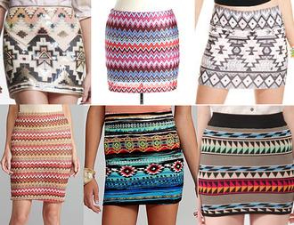 skirt aztec aztec skirt tight skirt shortskirt hipster hipster skirt pink blue ornage orange yellow patterned pattern pattern skirt slim fit