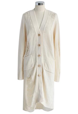 cardigan shredded longline knitted cardigan in ivory longline ivory chicwish
