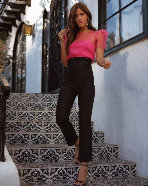 pants pink pink top black high waisted rocky barnes instagram