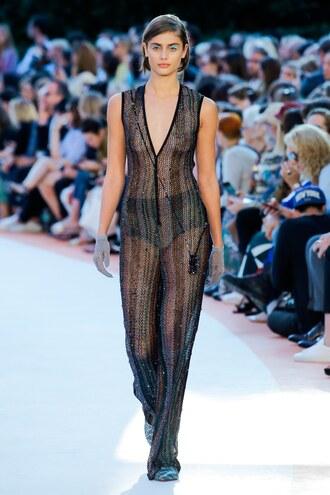 jumpsuit missoni taylor hill milan fashion week 2017 see through sheer black pants plunge v neck model runway