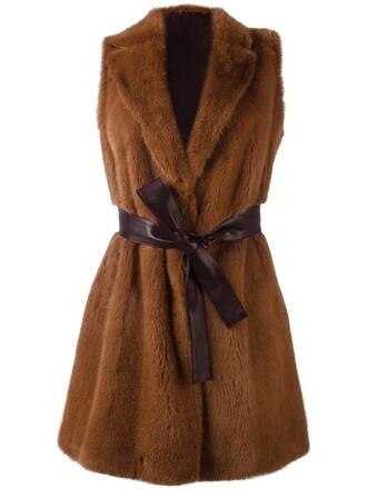 jacket sleeveless fur women silk brown