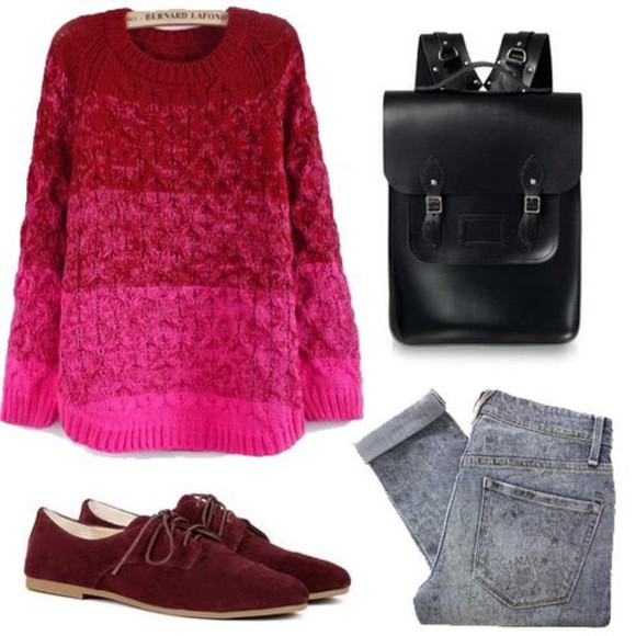 shoes oxfords bag vintage black bag red magenta