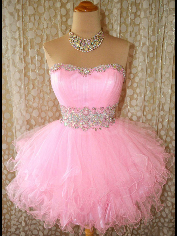 dress sequins beadings tulle skirt scoop neckline seleeveless for prom occasion pink dress