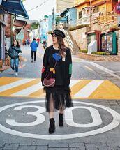 shorts,black sweater,sweater,skirt,black skirt,midi skirt,boots,black boots,hat,black hat,sailor hat,baker boy hat,bag,shoulder bag