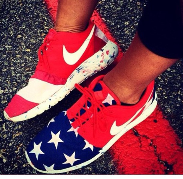 e1149fe52a34 shoes nike running shoes nike shoes womens roshe runs red blue stars born  on the fourth