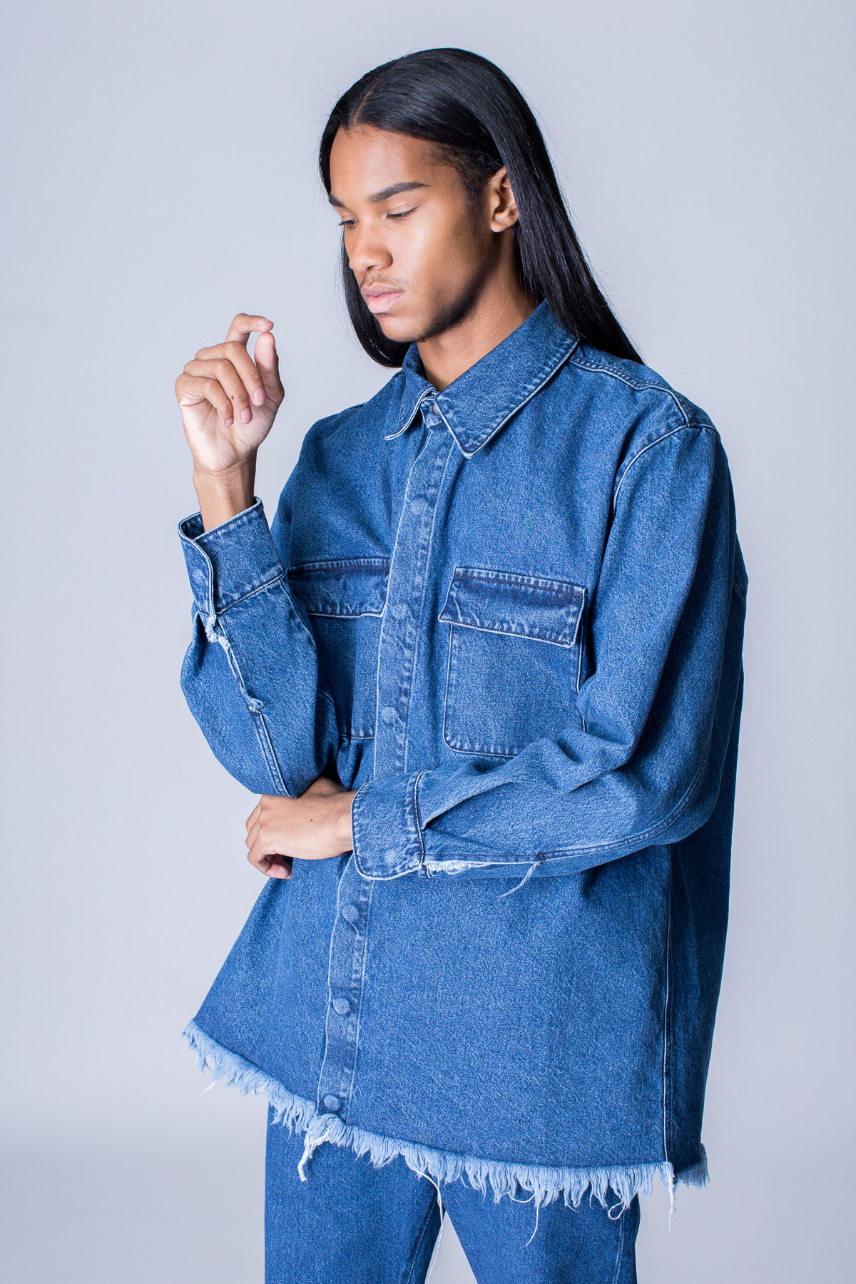 Marques'Almeida OC-Exclusive Denim Pocket Overshirt - MEN - Marques'Almeida - OPENING CEREMONY