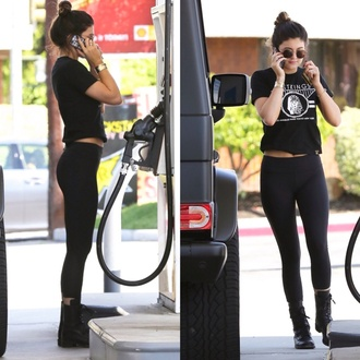 pants kylie jenner leggings yoga pants tank top shirt kendall and kylie jenner celebrity style celeb fashion celeb inspo fahsion rad shoes blouse