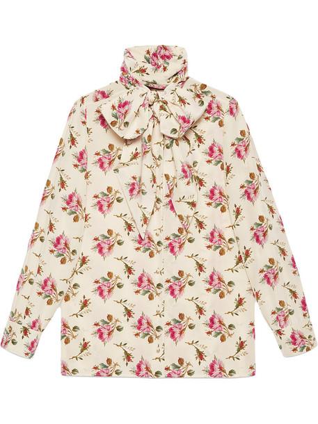gucci shirt rose women nude print silk top