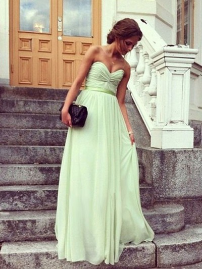 Line sweetheart floor length chiffon green prom dress with pleated napd0008 sale at shopindress.com