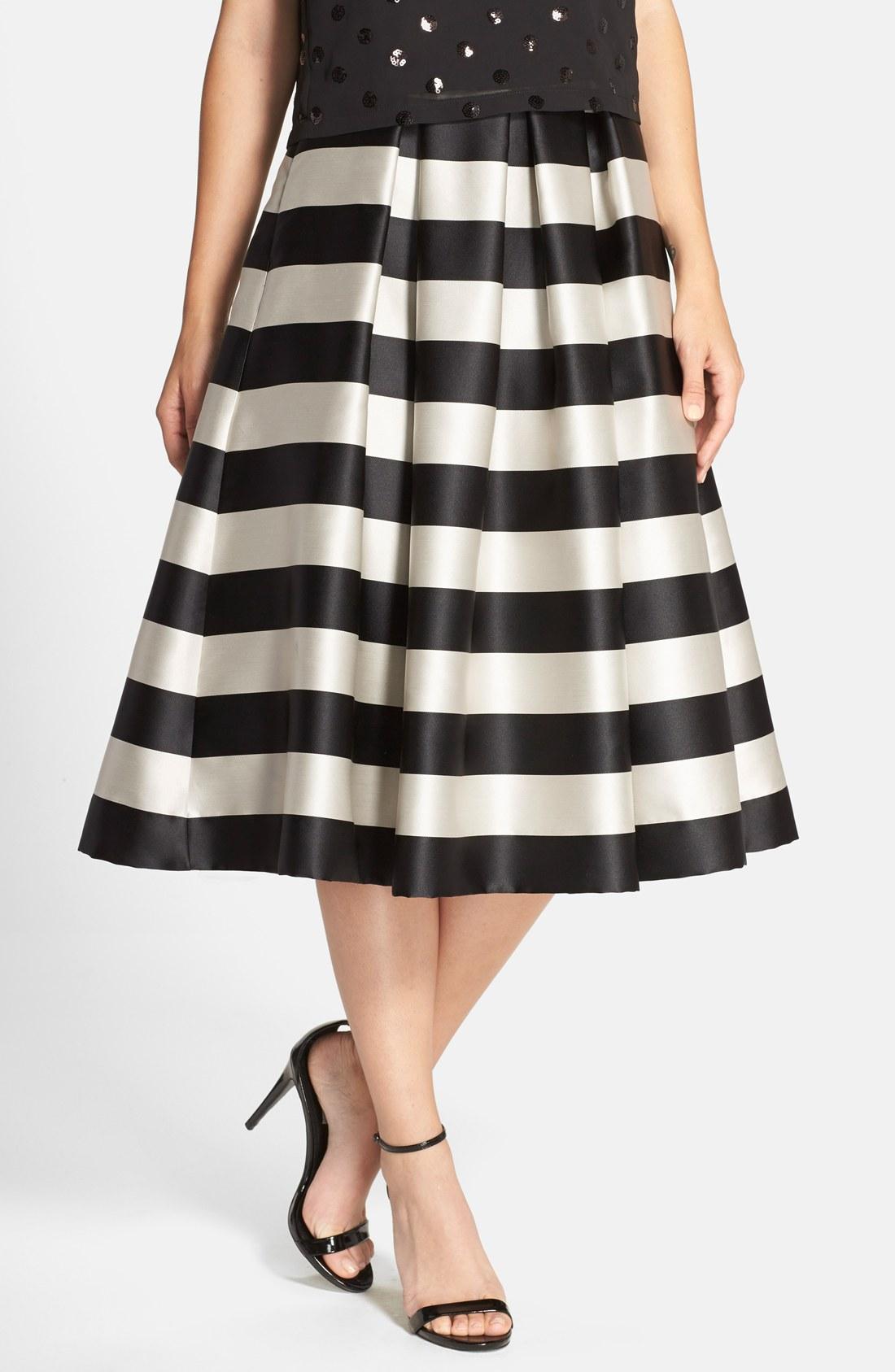 Eliza J Pleated Stripe Midi Skirt  9ba3d7f36